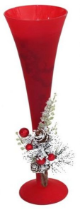 Portacandela natalizio bicchiere flute rosso