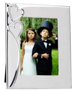 Portafoto cuore argentato argento silver plated cm.24,5x19,8x2,5h