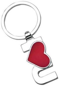 Portachiavi i love you cuore rosso cromato cm.7,5x3,5x1h