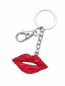 Portachiavi bacio labbra rosse smack con brillantini cm.11,5x5x1h