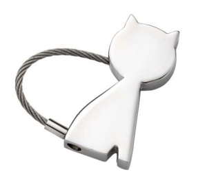 Portachiavi cromato gattino cm.4,2x4x1h