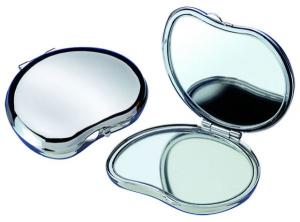 Specchio doppio fagiolo in silver plated cm.4,5x5x2h