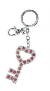 Portachiavi cuore chiave con brillantini rosa cm.13,4x3,3x0,5h
