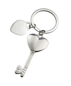 Portachiavi chiave cuore lucido cromato cm.10x3,5x1h
