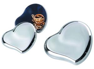 Porta gioie cuore argentato argento silver plated cm.7,5x7,5x2h