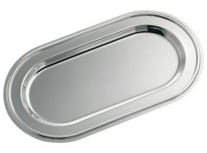 Vassoio ovale cromato stile Inglese cm.29x16x2h