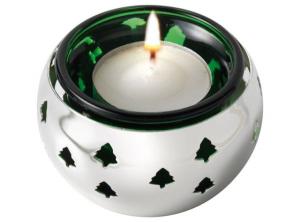 Porta candele traforato albero Natale in silver plated cm.8x8x5h diam.7,2