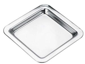 Piattino quadrato stile Cardinale cromato cm.12,6x12,6x1,5h