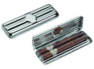 Portasigari triplo avana argentato argento silver plated cm.16,7x5,8x3,5h