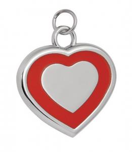 Pendente cuore rosso cm.2,5x3x0,2h