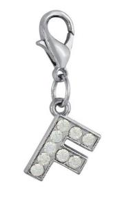 Charm lettera f con cristalli cm.3,3x1x0,2h
