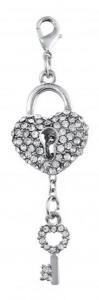 Charm chiave e lucchetto cuore con brillantini cm.7x2x0,5h