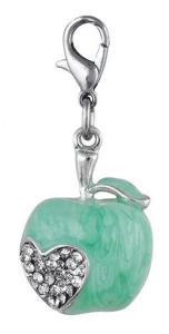 Charm mela verde cuore con brillantini cm.4x1,8x0,5h