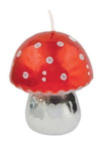 Candela fungo rosso lucido grande cm.8,5h diam.7