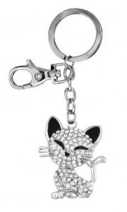 Portachiavi gatto con brillantini cm.12x3,8x1h