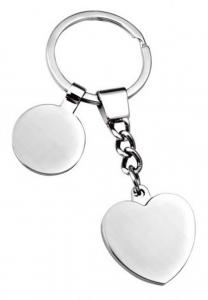 Portachiavi cuore con gettone cm.9x3,5x1h