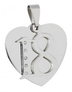 Pendente acciaio cuore 18° cm.2,8x3x0,2h