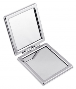 Specchietto rettangolare in metallo cm.6,2x6,8x1,1h