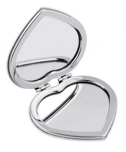 Specchietto cuore in metallo e pu cm.7x6,5x1,1h