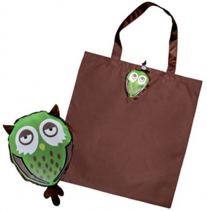 Shopper gufo verde marrone cm.43x40x0,2h