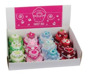 Bomboniera cuore torta multicolore portaconfetti cm.24x34x9h