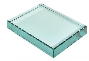 Fermacarte in vetro verde cm.9x12x1,9h