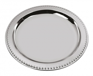 Piatto cromato stile Perles cm.20,6x20,6x1h