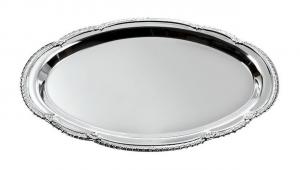 Vassoio ovale in metallo lucido cm.22x31x1,2h
