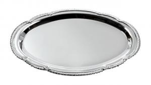 Vassoio ovale in metallo lucido cm.27x38x1,5h