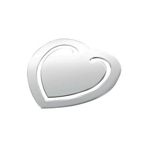 Segnalibro cuore silver plated cm.5x5,5x0,2h