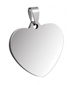Pendente acciaio cuore cm.3,3x3x0,2h