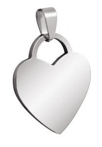 Pendente acciaio cuore cm.3x2,6x0,2h