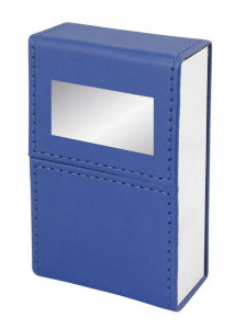Portasigarette pu blu con incavo e piastrina cm.5,2x3x9,8h