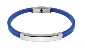 Bracciale acciaio e eva blu cm.21x0,7x0,5h