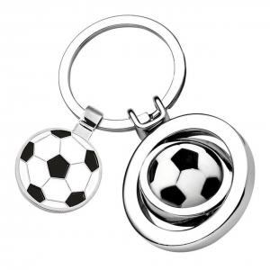 Portachiavi pallone calcio con gettone cm.7,6x3,5x1,8h