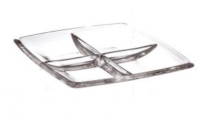 Piatto multisezione in vetro cm.28x28x3,5h