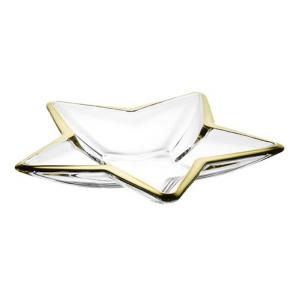Centrotavola in vetro a forma di stella con bordo oro cm.5,5h diam.35