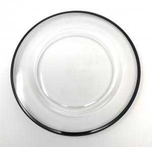 Piattino pane in vetro trasparente filo nero cm.diam.15