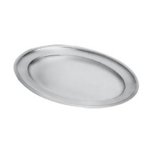 Piatto ovale da portata pesante con bordo in acciaio inox cm.85x58