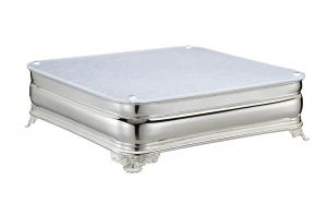 Vassoio sottotorta portadolce argentato argento quadrato con piano in plexiglass argento cm.47x47x11,5h