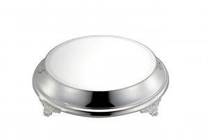 Vassoio sottotorta portadolce argentato argento tondo con piedi stile Cardinale cm.9h diam.38