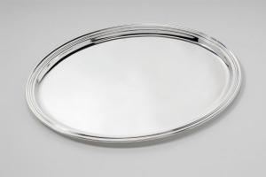 Vassoio ovale argentato argento stile Inglese stampato sweet home cm.38,5x27,5