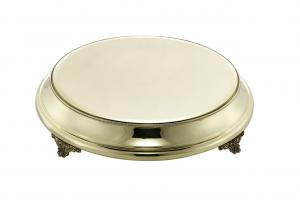 Vassoio per torta in ottone stile Perles cm.9h diam.48