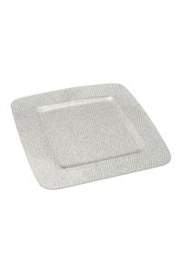 Piatto Quadrato in Plexiglass texture a rete Argento cm.31,5x31,5x1h