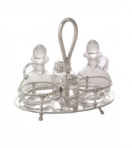Oliera ovale in argento massiccio stile Inglese completa di salini e ampolle cm.22x13x19h