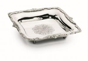 Cestino quadrato argentato argento sheffield stile inciso cm.23x23x5h