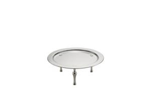 Vassoio tondo da buffet con piedi stile Cardinale argentato argento sheffield cm.13h diam.35