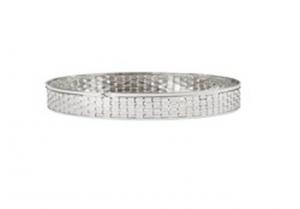 Centro tavola rotondo argentato argento stile metal tisse cm.9h diam.59