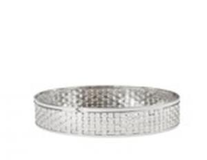 Centro tavola rotondo argentato argento stile metal tisse cm.12h diam.31