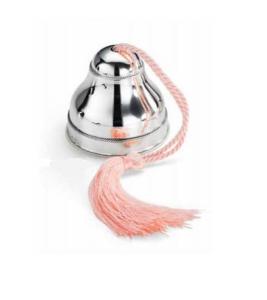 Carillon in argento con cordoncino rosa bimba cm.8h diam.7